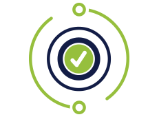 Icon of circular processes with checkmark in the middle