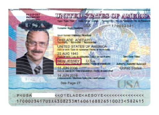 Digitally altered US passport