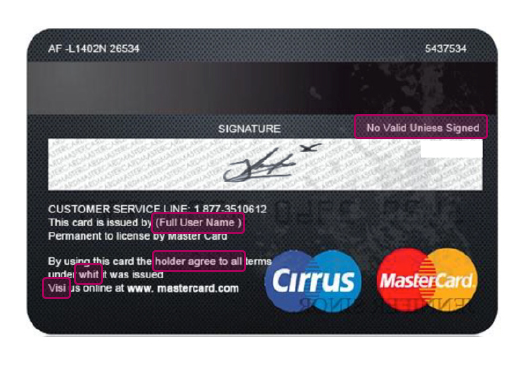 Digitally altered credit card